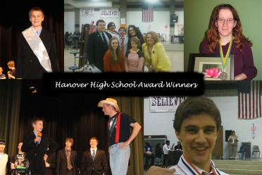 Top Left: Chase Lewis, wins Mr. HHS for the Freshman class, Top Center: Forensics Team wearing awards, Top Right: Allie Hopper holding her award winning photo, Bottom Left: Gym Teacher Mike Rohr and Fresham Chase Lewis at Mr. HHS, Bottom Right: Forensics Team Member Ryan Kellner with his award. Credit: Features Editors Ashlyn Davis and Nikki Petzer