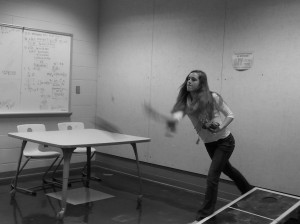Senior Annie Sadler partcipates in a exciting approach to probability class. Credit: Hayley Plotz
